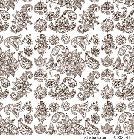 Henna tattoo mehndi flower doodle ornamental 39908341