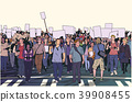 People marching on street with blank signs 39908455