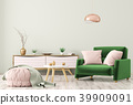 living room with dresser and armchair 3d 39909091
