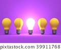 Illuminated light bulb among the yellow bulb 39911768
