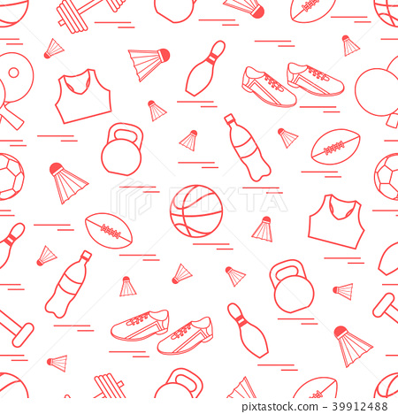 Seamless pattern on the sports theme sports and 39912488