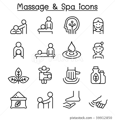 Massage & Spa icon set in thin line style 39912850