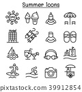 Summer icon set in thin line style 39912854