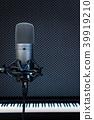 condenser microphone on piano background in studio 39919210