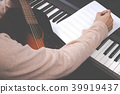 male songwriter writing song on blank music sheet 39919437