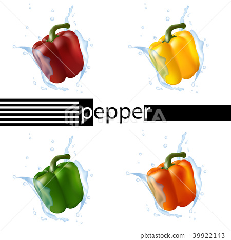 Bell pepper set in red, yellow, green, and orange 39922143