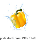 Yellow bell pepper. Water splashing. Realistic 3d 39922149