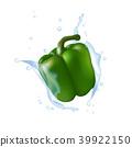 Green bell pepper. Water splashing. Realistic 3d  39922150