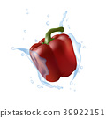 Red bell pepper. Water splashing. Realistic 3d 39922151