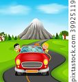 Man and family driving a car on the road 39925119