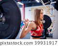 Photo of sports woman squatting with bar 39931917