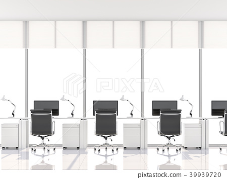 Minimal style office with bay window 3d render 39939720