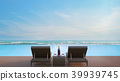 Pool terrace with sea view 3d render 39939745