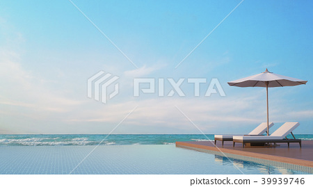 Pool terrace with sea view 3d render 39939746