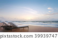Sea side terrace and sunbed 3d render 39939747