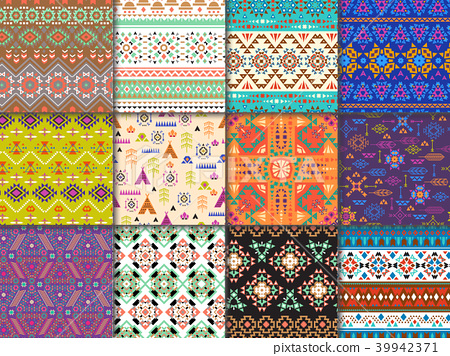 Tribal seamless pattern vector ethnic texture with abstract ornament and geometric print textile for 39942371