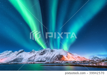 Aurora borealis. Lofoten islands, Norway. Aurora 39942570