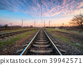Railroad and beautiful sky at sunset. Railway 39942571