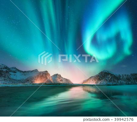 Aurora borealis in Lofoten islands, Norway 39942576