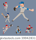 Baseball team player vector sport man in uniform game poses situation professional league sporty 39942831