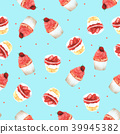 Seamless Pattern Strawberry Cupcake for Packaging  39945382