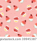 Seamless Pattern Strawberry Cupcake for Packaging  39945387