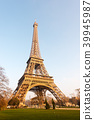 Eiffel tower at sunrise in Paris - France 39945987
