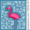 Tropical bird in paper cut style. Pink flamingo 39946167