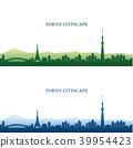 Tokyo cityscape silhouette, Tokyo Tower, Sky Tree 39954423