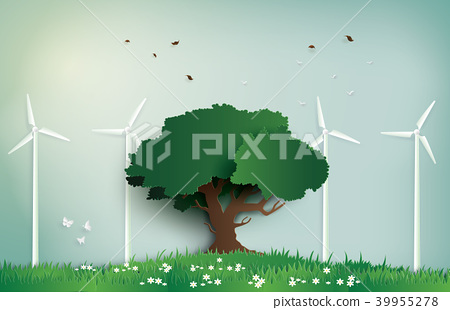 alone tree on the field with wind mill 39955278