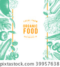 Vector hand drawn vegetables Illustration. Vintage style banner template. Retro organic farm food 39957638
