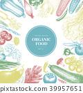 Vector hand drawn vegetables Illustration. Vintage style banner template. Retro organic farm food 39957651