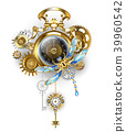 Steampunk clock with mechanical dragonfly 39960542