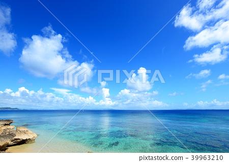 Beautiful Okinawa beach and summer sky 39963210