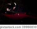 A man with a beard plays a big billiard. 39966830