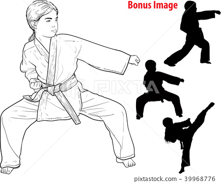 Girl practicing karate 39968776