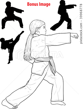 Girl practicing karate 39968778