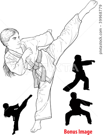 Girl practicing karate 39968779