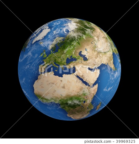 3D Rendering Planet Earth isolated on black 39969325