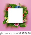Green summer with tropical leaves and flowers. Vec 39976688