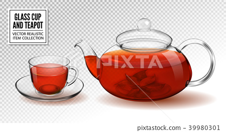 Vector glass cup and teapot with tea. Realistic 3d 39980301