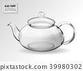 Empty glass teapot on transparent background 39980302