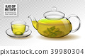 Vector glass teapot and cup with green tea 39980304