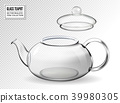 Empty glass teapot on transparent background 39980305