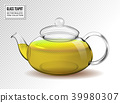 Vector glass teapot with green tea isolated on 39980307