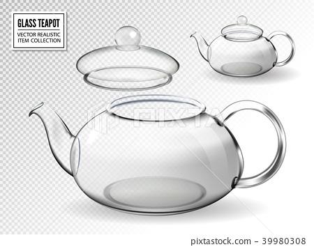 Empty glass teapot set on transparent background 39980308