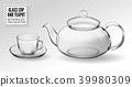 Vector set empty glass tea cups with teapot 39980309