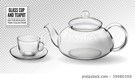 Vector set empty glass tea cups with teapot 39980309