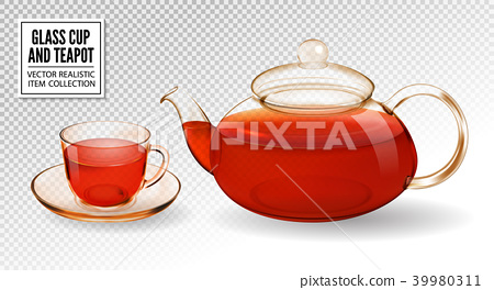 Vector glass teapot and cup with tea isolated on 39980311