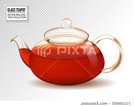 Vector glass teapot with tea isolated on 39980315